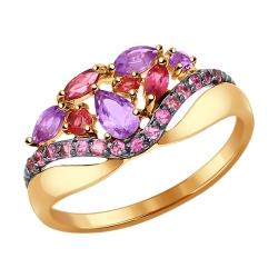 Золотое кольцо с аметистом и родолитом SOKOLOV