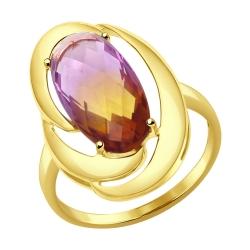 Кольцо из желтого золота с ситаллом