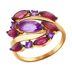 Золотое кольцо (Аметист, Родолит) SOKOLOV