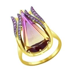 Кольцо из желтого золота с ситаллом и сиреневыми фианитами SOKOLOV