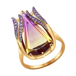 Золотое кольцо (Фианит, Ситалл) SOKOLOV