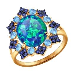 Золотое кольцо (Фианит, Топаз, Опал) SOKOLOV