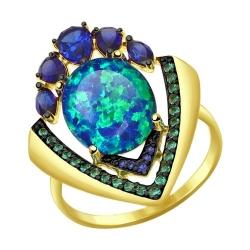 Кольцо из желтого золота с корунд (синт.), синим опалом зелеными и синими фианитами