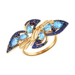 Золотое кольцо Бабочка (ГТ сапфир, Топаз) SOKOLOV
