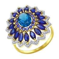Кольцо из желтого золота с синим , синими корунд (синт.) и фианитами