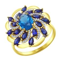 Кольцо из желтого золота с синими корундами (синт.), синим ситаллом и фианитами SOKOLOV
