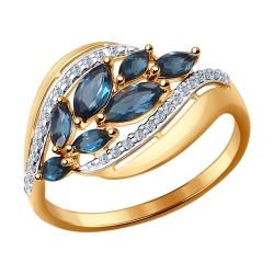 Золотое кольцо Листья (Фианит, Топаз) SOKOLOV