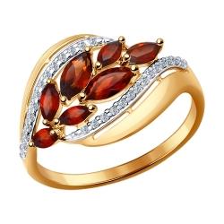 Золотое кольцо Листья (Гранат, Фианит) SOKOLOV