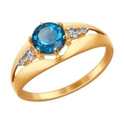 Золотое кольцо (Фианит, Топаз) SOKOLOV