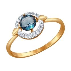 Золотое кольцо (Топаз, Фианит) SOKOLOV