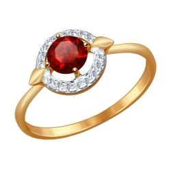 Золотое кольцо (Фианит, Гранат) SOKOLOV