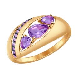 Золотое кольцо (Фианит, Аметист) SOKOLOV