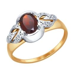 Кольцо из комбинированного золота (Гранат, Фианит) SOKOLOV