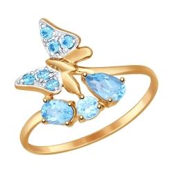 Золотое кольцо Бабочка (Топаз, Фианит) SOKOLOV