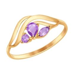 Золотое кольцо (Аметист) SOKOLOV