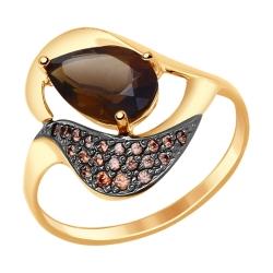 Золотое кольцо (Раухтопаз, Фианит) SOKOLOV