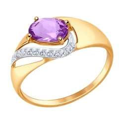 Золотое кольцо (Аметист, Фианит) SOKOLOV