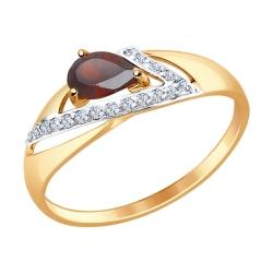 Золотое кольцо (Гранат, Фианит) SOKOLOV