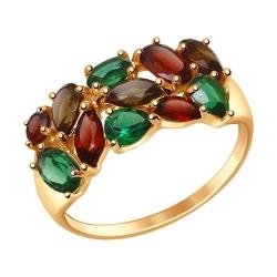Золотое кольцо с цветными камнями SOKOLOV