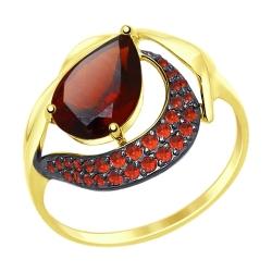 Кольцо из желтого золота с красным ситаллом и фианитами