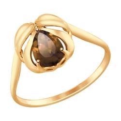 Золотое кольцо Перо с раухтопазом SOKOLOV