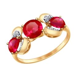 Золотое кольцо с рубином ГТ, фианитом SOKOLOV