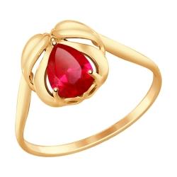 Золотое кольцо Перо с рубином ГТ SOKOLOV