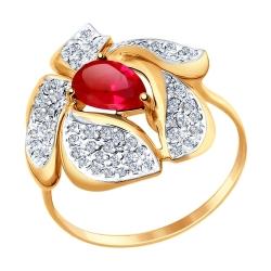 Золотое кольцо Цветок с рубином ГТ, фианитом SOKOLOV