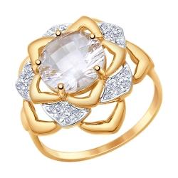 Золотое кольцо Цветок с горным хрусталем, фианитом SOKOLOV