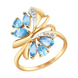 Золотое кольцо Бабочка c топазом и фианитами SOKOLOV