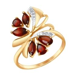 Золотое кольцо Бабочка c гранатом и фианитами SOKOLOV