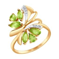 Золотое кольцо Бабочка c хризолитом и фианитами SOKOLOV