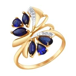 Золотое кольцо Бабочка c корундом и фианитами SOKOLOV