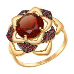 Золотое кольцо с красным ситаллом и красными фианитами SOKOLOV