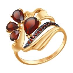 Золотое кольцо c гранатом и фианитами SOKOLOV