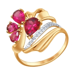 Золотое кольцо c родолитом и фианитами SOKOLOV