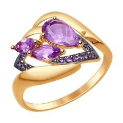 Золотое кольцо c аметистом и фианитами SOKOLOV