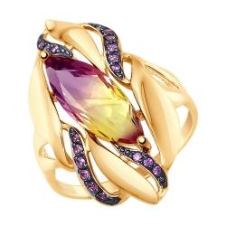 Золотое кольцо с ситаллом и сиреневыми фианитами SOKOLOV