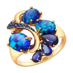 Золотое кольцо с синими корундами (синт.), синими опалами и синими фианитами SOKOLOV CRUISE
