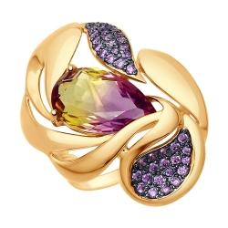 Золотое кольцо с ситаллами и сиреневыми фианитами SOKOLOV