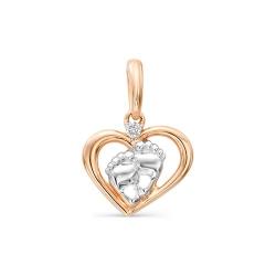 Детская золотая подвеска Сердце (Бриллиант)