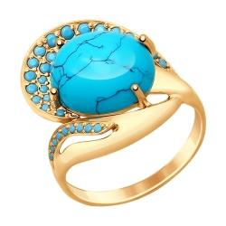 Золотое кольцо с бирюзой (синт.) и голубыми наношпинелями SOKOLOV