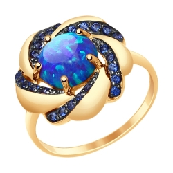 Золотое кольцо с синими опалами и синими фианитами SOKOLOV