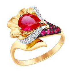 Кольцо из золота с красным корунд (синт.) бесцветными и красными фианитами