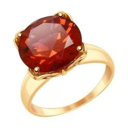 Кольцо из золота с красным ситаллом