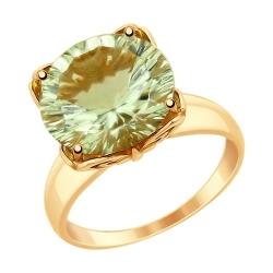 Кольцо из золота с зелёным аметистом