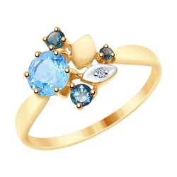 Кольцо из золота с голубым синими топазами и фианитом