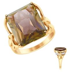 Кольцо из золота с ситаллом и фианитами