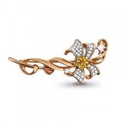 Золотая брошка Цветок с цитрином, фианитом
