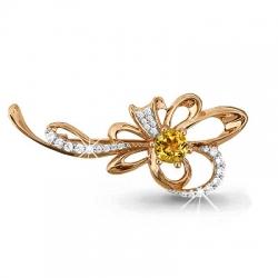 Золотая брошка в виде цветка с цитрином, фианитом